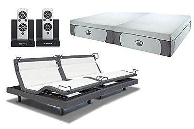 DynastyMattress 14.5-Inch CoolBreeze Gel Memory Foam with Reverie 8Q Adjustable Base Set Sleep System (Split King-Grey w/Setup)