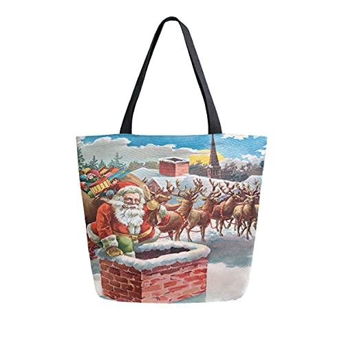 AHYLCL Weihnachtsmann Schornstein Elch Schnee Tragetasche Segeltuch Schultertasche Wiederverwendbare Große Mehrzwecknutzung Handtasche für Arbeit Schule Shopping Outdoor