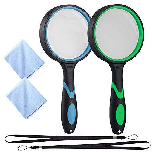 2Pack Handheld Magnifying Glass with Holes, SNOMEL Rubber Frame Reading Magnifier, Shatterproof Thickened Glass Lens…