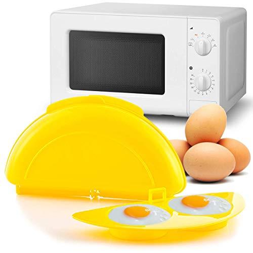 MovilCom® - Recipiente microondas, cuece Huevos Especial para Tortilla microondas | Cocinar Huevos Microondas | Tortilla Francesa microondas | BPA Free | Amarillo