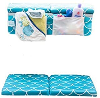 Baby Bath Kneeling Pad with Elbow Rest - Extra Long - Mermaid Design in Teal Blue - with Bonus Mesh Bath Toy Organizer - Wonderful Gift Set for Parents with a Infant, Toddler -