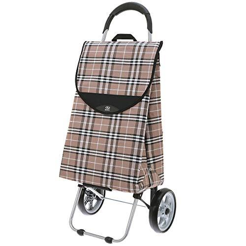 Secc Einkaufstrolley Einkaufsroller Einkaufskorb mit Rollen Shooping Trolley Einkaufswagen Cario 732.106, Farbe:Beige