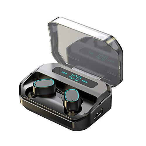 MOZUN Auriculares inalámbricos Bluetooth 5.0, con control táctil con compartimento de carga de pantalla LED, auriculares estéreo Tws Ipx5 impermeables para el trabajo y los deportes