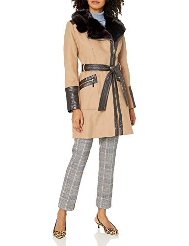 VIA SPIGA Women's Kate Mid-Length Belted Wool Asymmetric Zip Front Coat with Faux Fur Collar, Camel, 16
