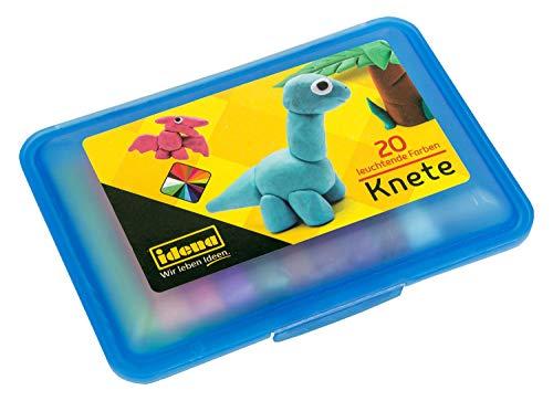 Idena 68125 - Knetebox mit 20 Stangen bunter Knete, in blauer Aufbewahrungsbox, lustiger Knetspaß für Kinder