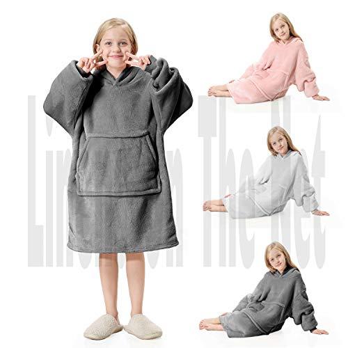 rejuvopdeic Gama de lujo de cobijas plateadas con capucha para niños, tela de tacto aterciopelado con forro polar sherpa ultrasuave, de gran tamaño, suave y acogedor.