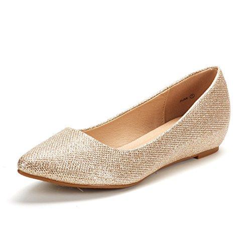 Dream Pairs Jilian Zapatos Planos Bailarina con Punta Cerrada para Mujer Dorado Brillante 42 EU/11 US