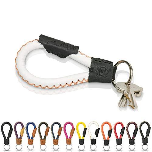 Schlüsselanhänger aus Echt-Leder in Fair-Trade Handarbeit hergestellt. Schlüsselband/Lanyard - Bangkok in vielen Farben, Unisex für Damen & Herren (Weiß & Schwarz)