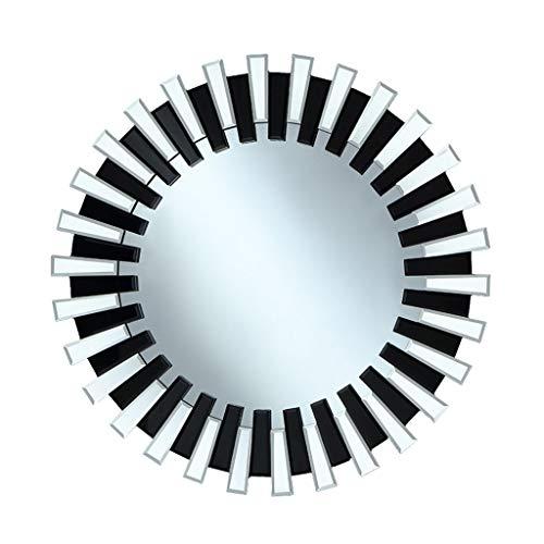 Miroirs Miroir Mural Miroir Mural Miroir Créatif De Frontière Miroir De Courtoisie Grand Miroir Rond Miroir De Salon (Color : Black, Size : 60cm/23.6inches)