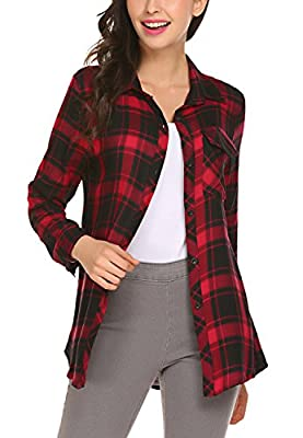 BLUETIME Women's Roll Up Sleeve Casual Loose Boyfriend Plaid Button Down Shirt