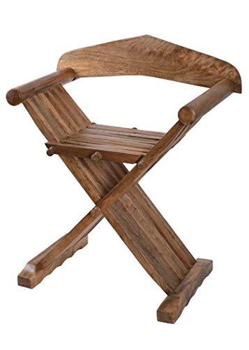Ulfberth - Mittelalter Scherenstuhl aus Holz mit Rückenlehne - Wikinger - LARP
