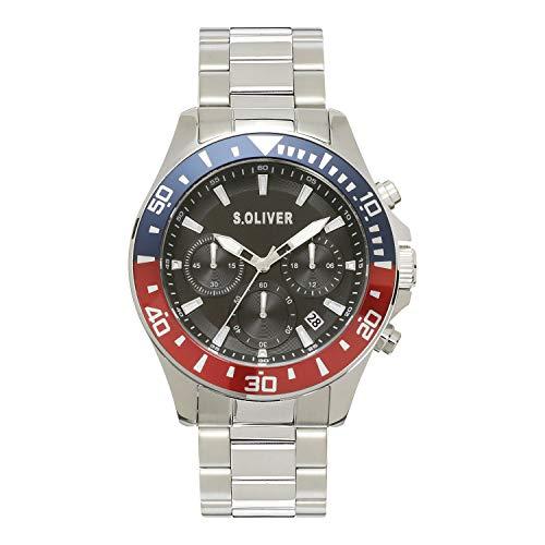 s.Oliver Herren Analog Quarz Uhr mit Edelstahl Armband SO-4238-MC