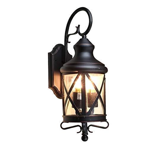 Retro Luz de Pared para Exteriores Europea Impermeable IP54 Poste de Puerta Lámpara de Pared Jardín Patio Balcón Escaleras Exterior Hierro Arte Linterna de Pared E27 Iluminación del Accesorio