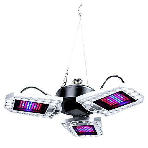WXDL Plegable LED Lámpara de Plantas Espectro Completo Impermeable Lámpara de Crecimiento Trébol Lampara de Cultivo Invernadero Grow Light para Planta Hidropónica de Interior,E26