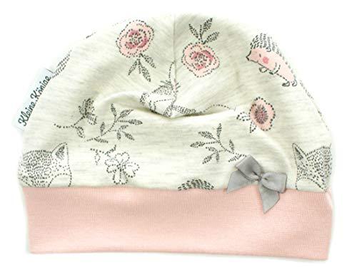 Kleine Könige Mütze Baby Mädchen Beanie · Modell Igel Cutie Pies, Altrosa · Ökotex 100 Zertifiziert · Größe 74/80