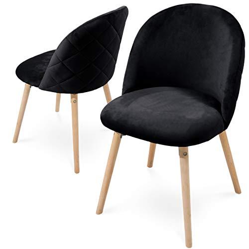 Sillas de comedor – Colores a elegir, 2/4/6/8, asiento de terciopelo, acolchado, patas de madera de haya, con respaldo, silla de cocina vintage, silla retro, silla de salón