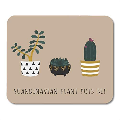 Scandinavisch design schattige zwarte bloempotten in de stijl van vetculenten Tropische boom Elipse Pink Mouse Pad muismat muismat