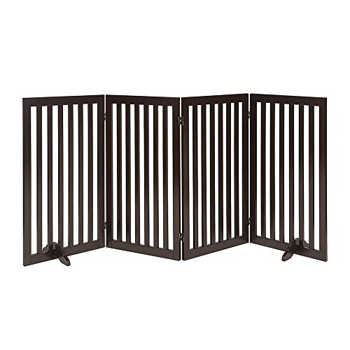 beeNbarks Freestanding Pet Gate for Dogs with 2PCS Support Feet, Foldable Wooden Dog Gates for Doorways Stairs, Indoor Puppy Safety Fence, Extra Tall Wide, 36 Inches H, 80 Inches W, 4 Panels, Espresso