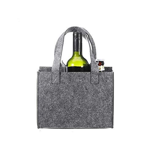 LIQUID Bolsa para 6 botellas, material de fieltro, bolsa de cerveza, bolsa de vino para fiestas, excursiones y picnics, resistente y fácil de transportar, color gris, 24 x 16 cm