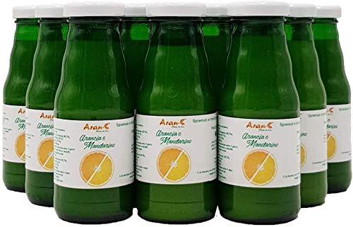 Orangen- und Mandarinen-Nektar, kalabrischer Orangen- und Mandarinen-Saft, italienischer Frucht-Nektar-Saft, farbloses Getränk ohne Konservierungsmittel (12 Flaschen 200 ml)