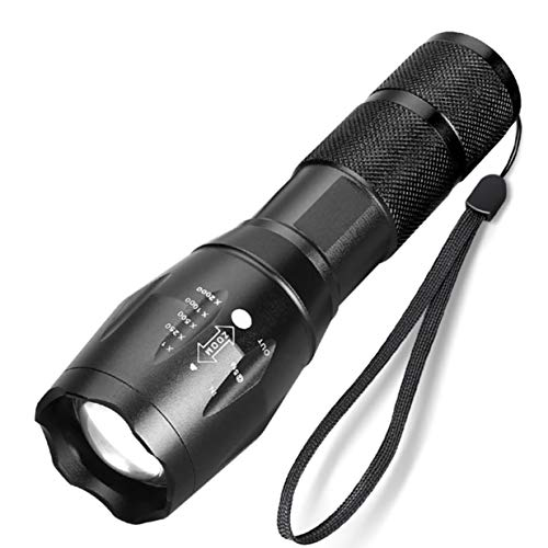 Timetided Linterna Led de 10000 lúmenes T6 / L2 Linterna Ultra Brillante 5 Modos Linternas tácticas con Zoom Luz de Flash al Aire Libre