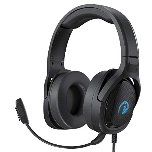 Fosi Audio GH5000 Stereo Gaming Headset for Mac, PC, PS4, Xbox One, Switch, Mobile Devices with Surround Sound - HD Over Ear Headphone with Noise Cancelling Mic, LED Light, Memory Foam Ear Cups