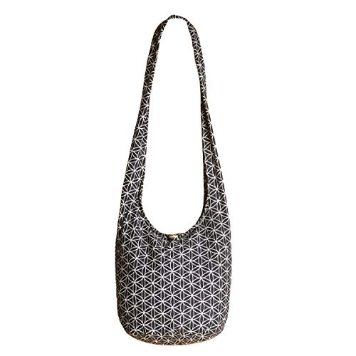 PANASIAM Shoulderbag 'Flower of Life', in black, L