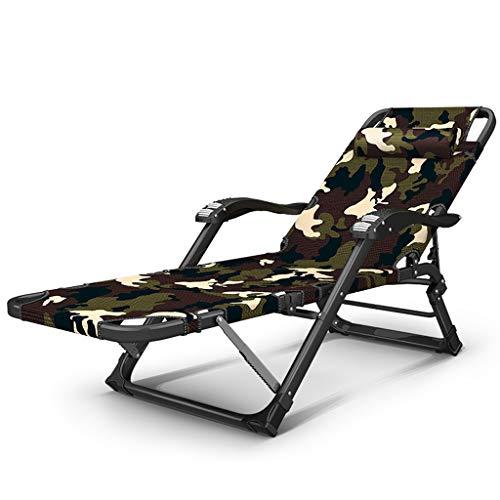 Chaise pliante chaise déjeuner pause chaise paresseux retour à la maison multi-fonction lit pliant été loisirs plage chaise composite Oxford (Couleur : Camouflage)