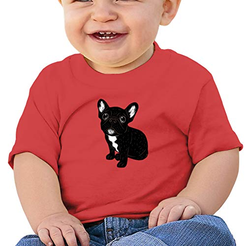 SEAEAGLE Cute Brindle Frenchie Puppy Baby Cotton Short Sleeve Crewneck Tee Toddler Tops Blouse Red