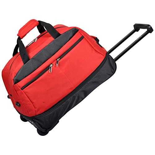 YLLHK Portable Wheeled Travel Bag, Zipper Adjustable Capacity Trolley Sports Bag, Oxford Fabric Foldable Luggage Bag, Suitable for Business Campping Vacation University,Red