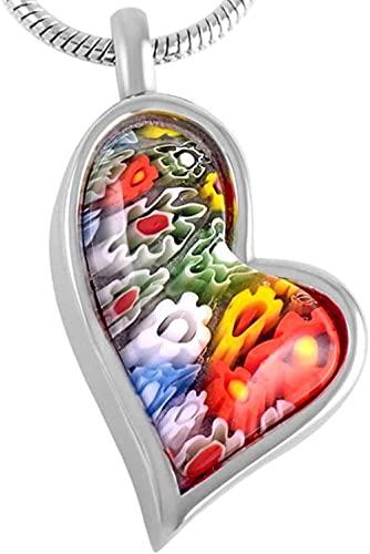 Collar Mujer Collar Hombre Colgante Collar para cenizas coloridas y creativas Flores de cristal en forma de corazón Collares de urna Cenizas Souvenir Colgante Kit de embudo para mamá Papá Mujeres Homb