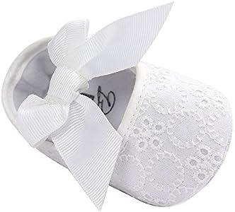 Lacofia Zapatos de Bautizo con Suela Suave Antideslizante Princesa Arco de bebé niñas Blanco 3-6 Meses