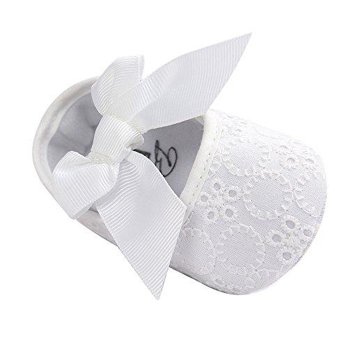 LACOFIA Baby Mädchen Prinzessin Bowknot rutschfest Weiche Sohle Taufschuhe Weiß 6-12 Monate