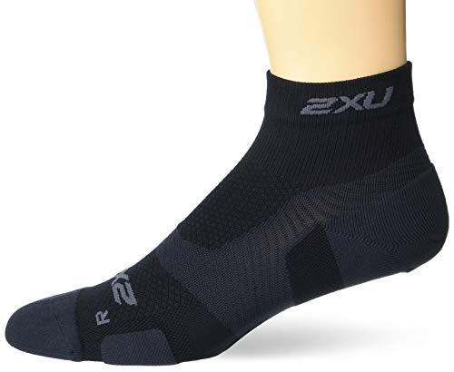 2XU Unisex's Vectr Light Cushion 1/4 Crew Socks, Black/Titanium, Large