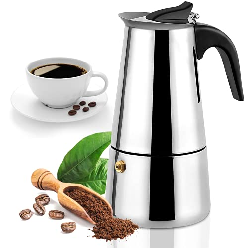 Stovetop Espresso Maker with Classic and Rich Brews Moka Pot, Cuban Coffee Maker Stove top Espresso Shot Maker for Espresso Coffee Percolator Machine 200ml