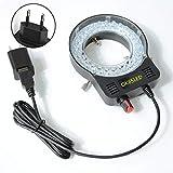 FangWWW Mikroskop-Lampe, Einzelzylinder, Stereo-Mikroskop, Ring-Lampe, integrierter LED-Ring, Lichtquelle, Helligkeit, verstellbarer Mittelstrahler, USB