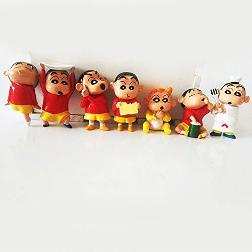QHYZRV Anime Crayon Shin-Chan 7 Figuras Tesoro Caja de Torta Decoración Premium Decoración Modelo Modelo Muñeca Muñeca Regalo Estatua Escultura Altura 5 cm