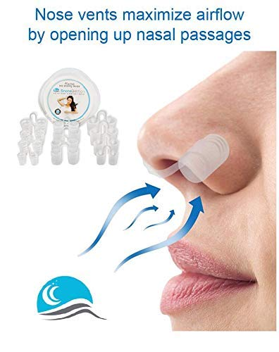 Anti Snoring Nose Vents by Snore Bastion -12 Nasal Cones - Nasal Dilator to Stop Snoring - Sinus Relief Cones - Medical Grade Silicone Snore Stopper - Easy to Use Snoring Solution