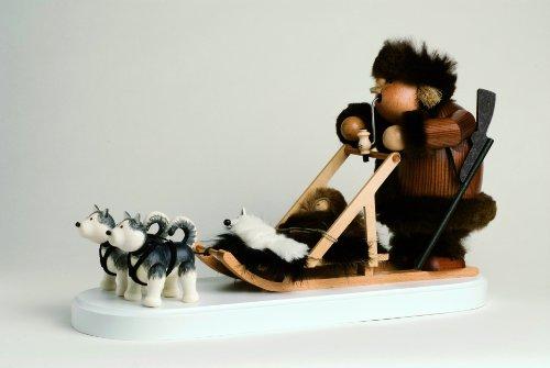 KWO Olbernhau 21653 Räuchermännchen Eskimo mit Hundeschlitten, 21 cm