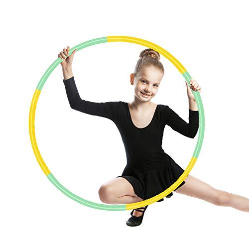 SwirlColor Fitnessreifen Hula Reifen Kinder, Abnehmbarer Kreis für Zuhause Draussen Schule Party Tanz Gelb und Grün 1St
