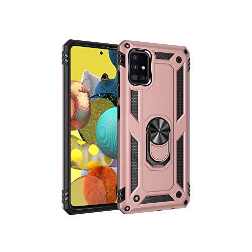 Hoes voor Galaxy A51 Rugged Dual Layer Samsung mobiele telefoonhoes, stootvast siliconen + hard polycarbonaat, ultradunne beschermhoes met 360 graden ringstandaard, magnetische autohouder, stootvast