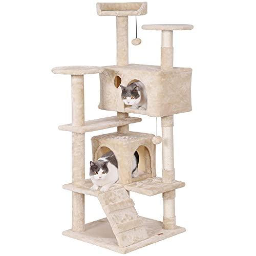 LUCKY MARKET キャットタワー 猫タワー 爪とぎ 天然サイザル麻紐 据え置き 大型猫 子猫 ネコタワー すべての年齢の猫に適しています 安全で安定して使用できます 安定性抜群 組立簡単 多頭飼い スペースを取らない 高さ135cm(ベージュ)