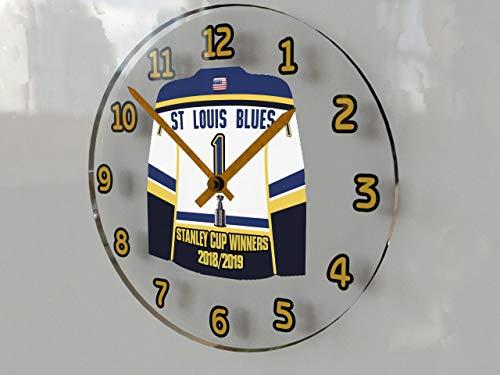 Unbekannt Stanley Cup Finale Champions 2018/19 Gedenk-Wanduhr mit Jersey-Motiv – Lets Go Blues Worst to First - Geschichte !! Uhr, 30,5 x 30,5 x 5,1 cm