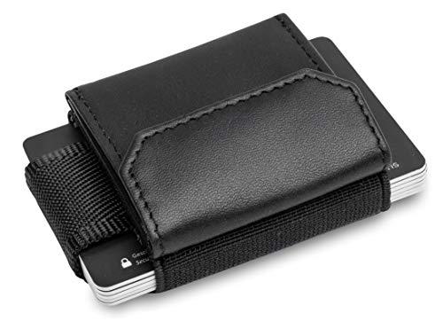 iMini - Echtleder Handgemachter mini Geldbeutel mit Münzfach und Platz für bis zu 13 Kreditkarten - Minimalist wallet Geldbörse besteht aus echtem Leder und Textil inkl. Geschenkbox |Schwarz| BONYAVIS
