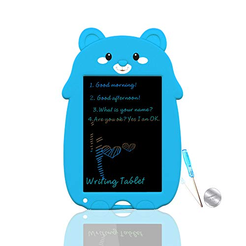 VNVDFLM Colorful Bear Electronic Drawing Board for Kids with OneButton Erase Toys for 511Year Old Boys and Girls 85 Inch LCD Graffiti Board for Kids Cute Birthday Easter Gifts BlueXX