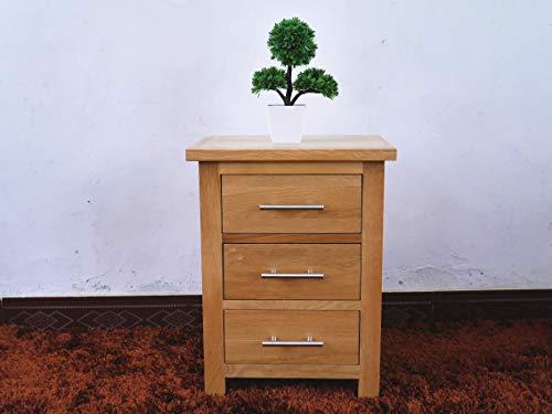 OAK Hard hout nachtkastje in licht eiken lak afwerking smalle zijlamp nachtkastje houten lade kast