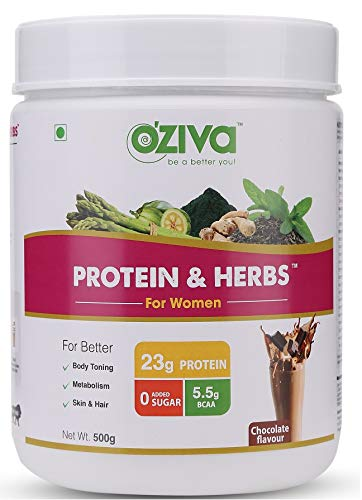 OZiva Protein & Herbs, Women, (Natural Protein Powder with Ayurvedic Herbs & Multivitamins for Better Metabolism, Skin & Hair) 500g, Chocolate
