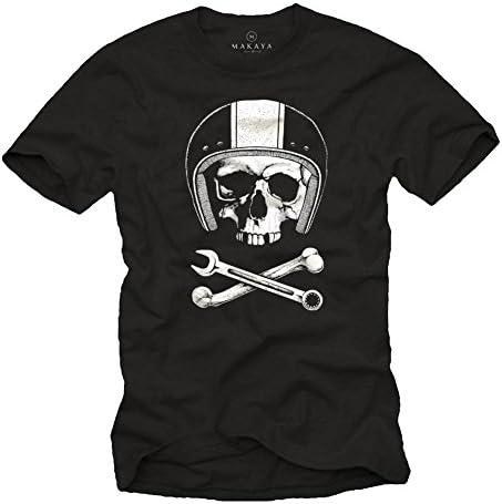 MAKAYA Calavera con Casco - Camiseta Motocross