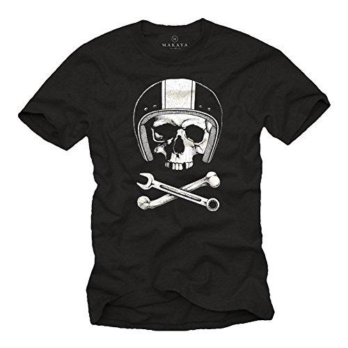 MAKAYA Calavera con Casco - Camiseta Motocross - Hombre Negra XL