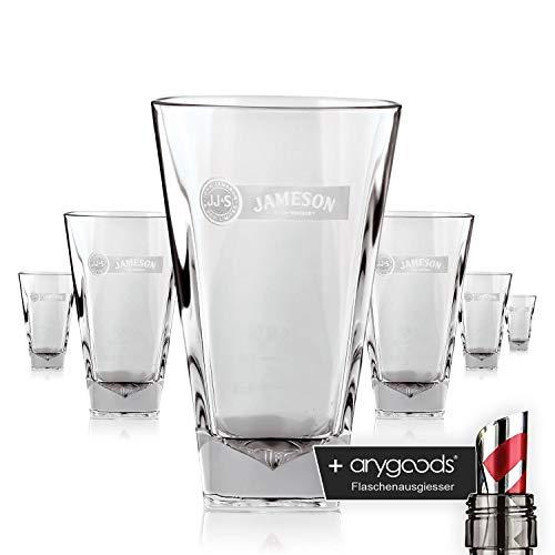 6 x Jameson Glas/Gläser Prism Whiskey Longdrink Gastro Bar Deko NEU + anygoods Flaschenausgiesser